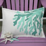 Antler Coral Aqua Outdoor Pillow