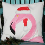 Flamingo Santa Holiday Outdoor Pillow