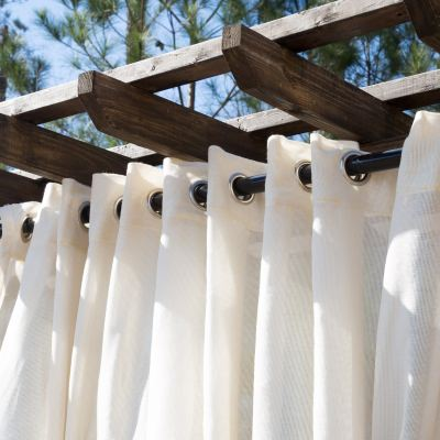 Sheer Beige Extra Wide Outdoor Curtain with Nickel Grommets