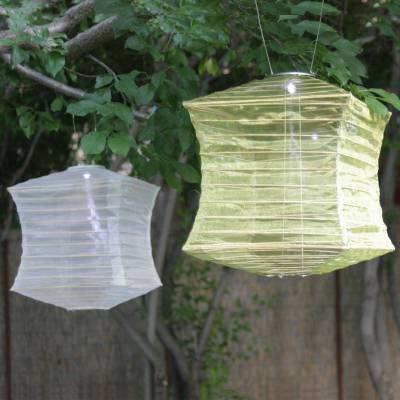Square Silk Effects Solar Lantern