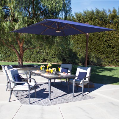Bali 10' Square Sunbrella Cantilever Umbrella with Cross Base