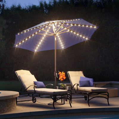 Lanai Pro 9u0027 Octagon Solefin Market Umbrella With Star Lights