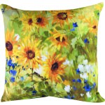 Sunflower Field Outdoor Pillow (18