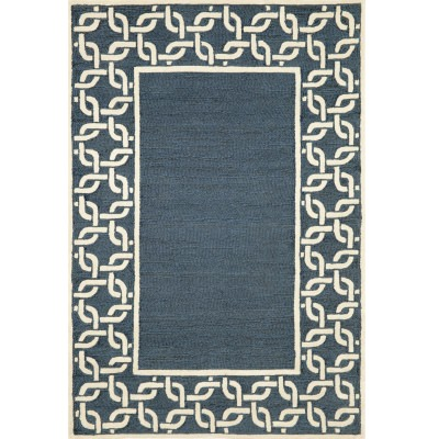 Spello Chain Border Denim Outdoor Rug