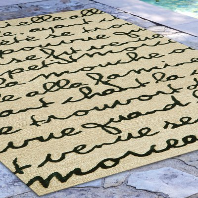 Spello Poem Black Outdoor Rug