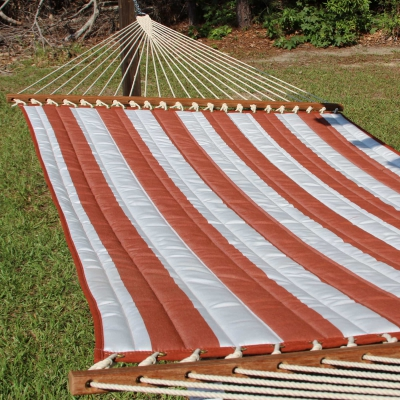 Large 2 Person Soft Polyester Quilted Hammock - Brick and White Stripe