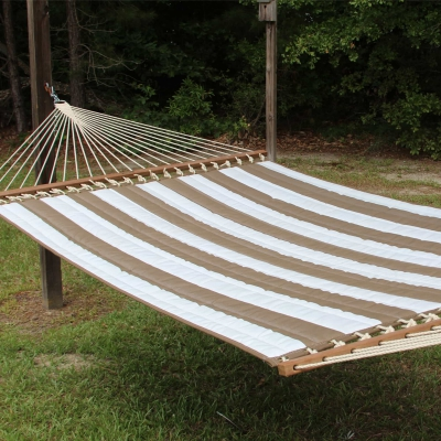 Large 2 Person Soft Polyester Quilted Hammock - Cocoa and White Stripe