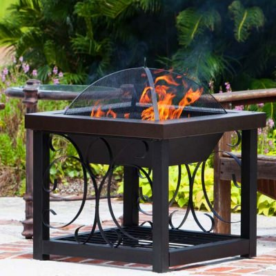 Square Dual Firepit and Table in Bronze frame