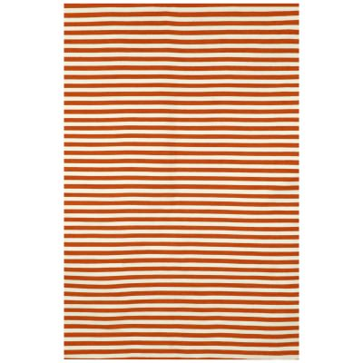 Sorrento Paprika Mini Stripe Outdoor Rug