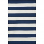Sorrento Navy Rugby Stripe Outdoor Rug