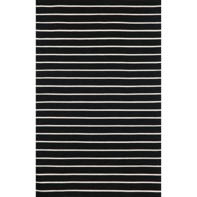 Soro Black Pinstripe Stripe Outdoor Rug