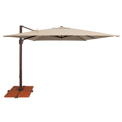 Bali Pro 10' Square Solefin Cantilever Umbrella with Star Lights and Cross Base