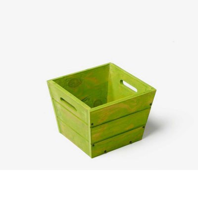 SGC 9 in Square Wood Planter in Green with Handles