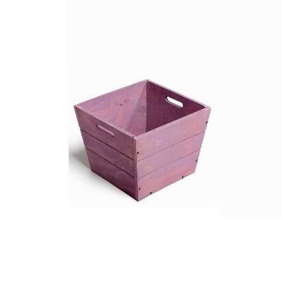 SGC 9 in Square Wood Planter in Purple with Handles