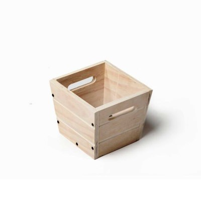 SGC 9 in Square Wood Planter in White with Handles