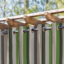 Pistachio Tiramisu Striped Extrawide Outdoor Curtain