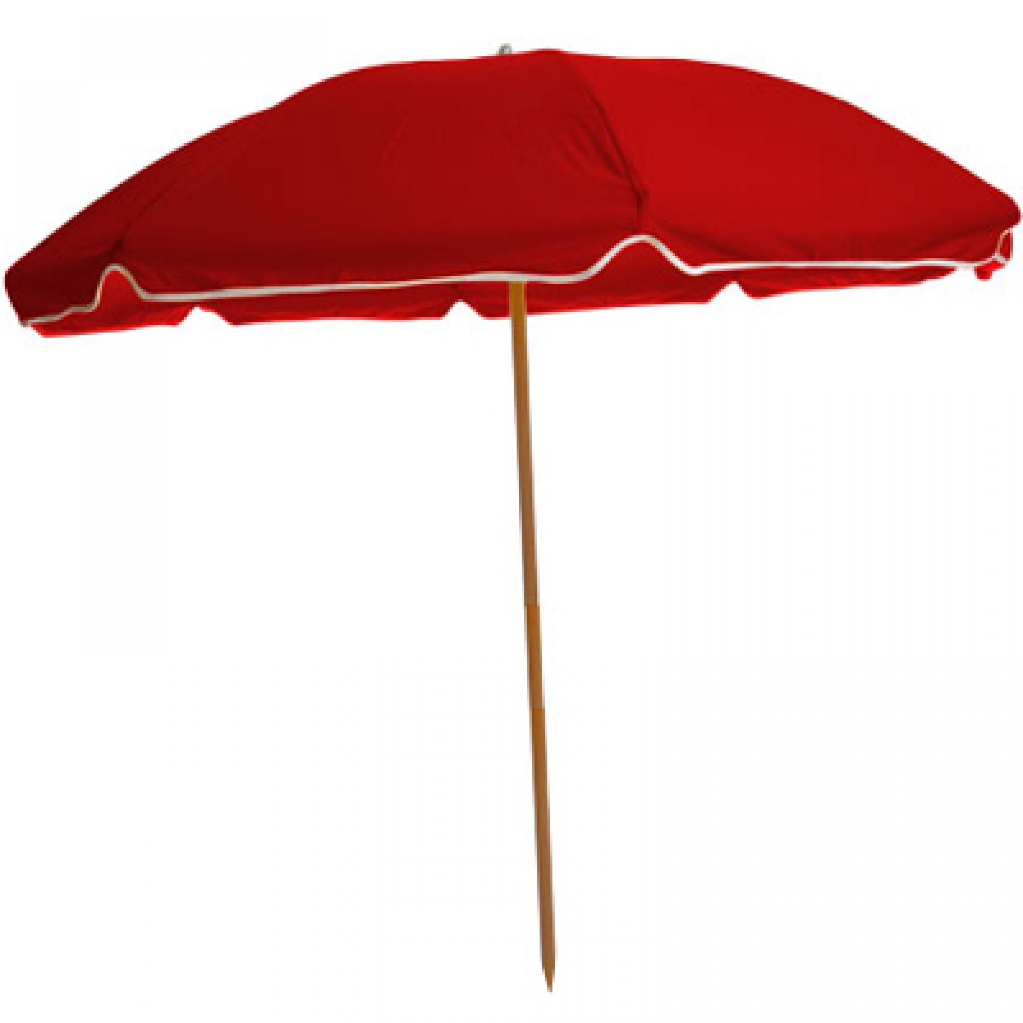 Shop Sunbrella Beach Umbrella With Wood Pole Red