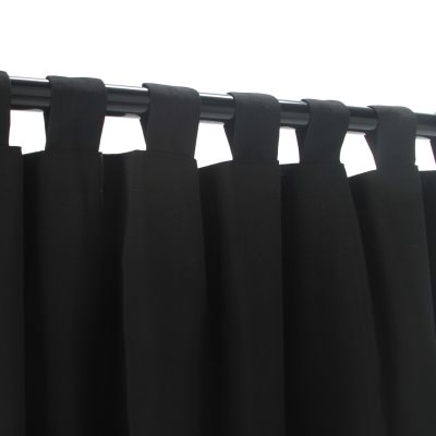 Black Sunbrella Outdoor Curtain with Tabs