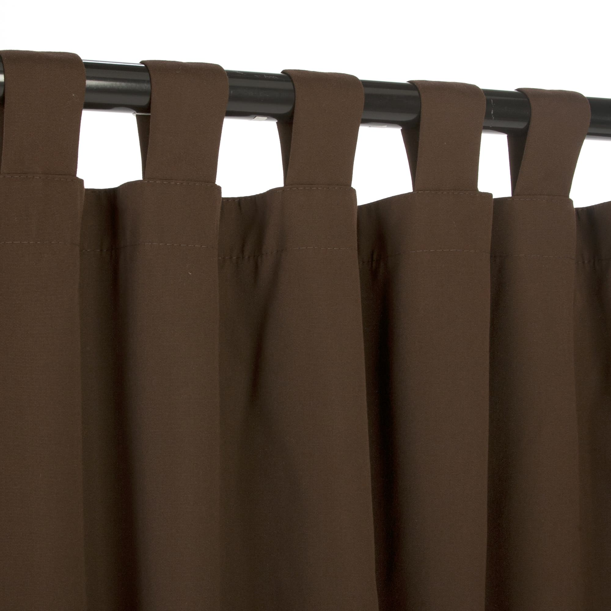 Bay Brown Sunbrella Outdoor Curtains With Tabs Dfohome