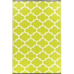 Tangier Celery and White Outdoor Mat