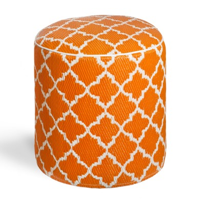 Tangier Carrot and White Pouf
