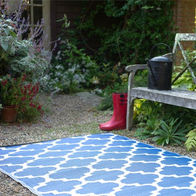 Tangier Regatta Blue and White Outdoor Mat