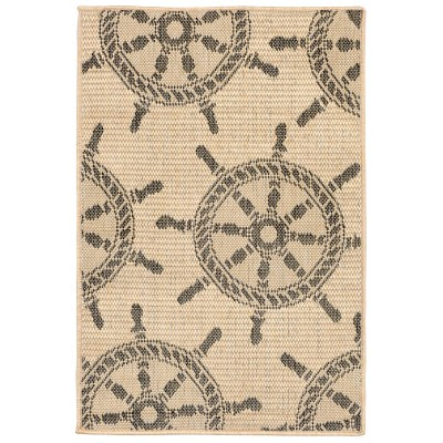 Terrace Shipwheel Neutral Outdoor Rug