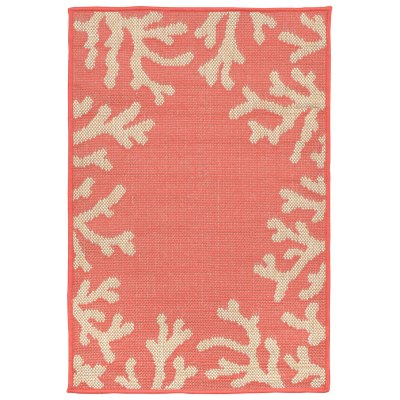 Terrace Coral Border Coral Outdoor Rug