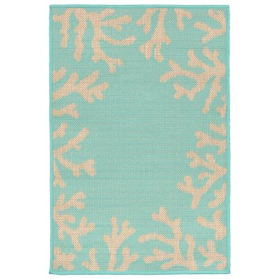 Terrace Coral Border Turquoise Outdoor Rug