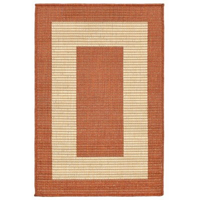 Terrace Border Terracotta Outdoor Rug