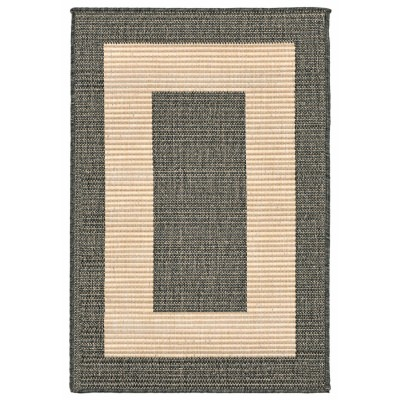 Terrace Border Charcoal Outdoor Rug