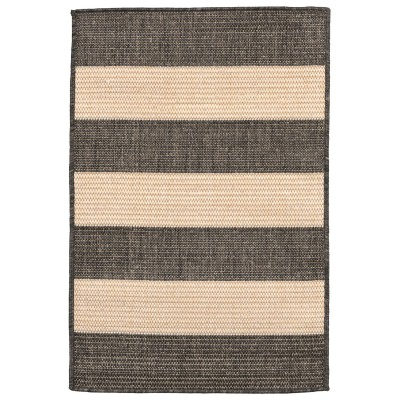 Terrace Rugby Charcoal Outdoor Rug