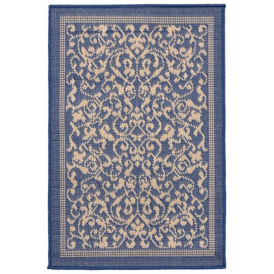 Terrace Scroll Vine Marine Outdoor Rug