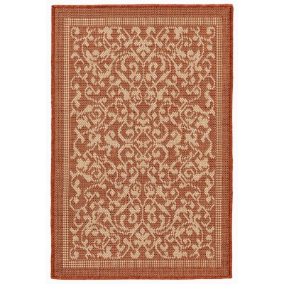 Terrace Scroll Vine Terracotta Outdoor Rug