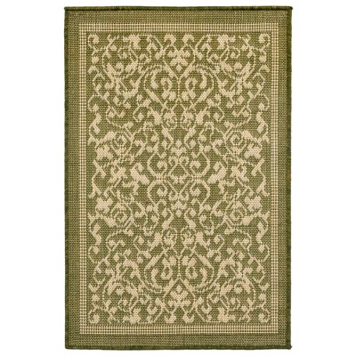 Terrace Scroll Vine Green Outdoor Rug