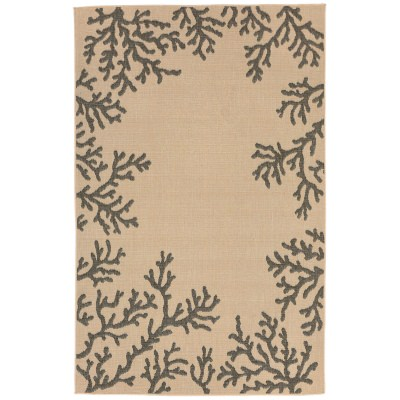 Terrace Coral Border Neutral Outdoor Rug