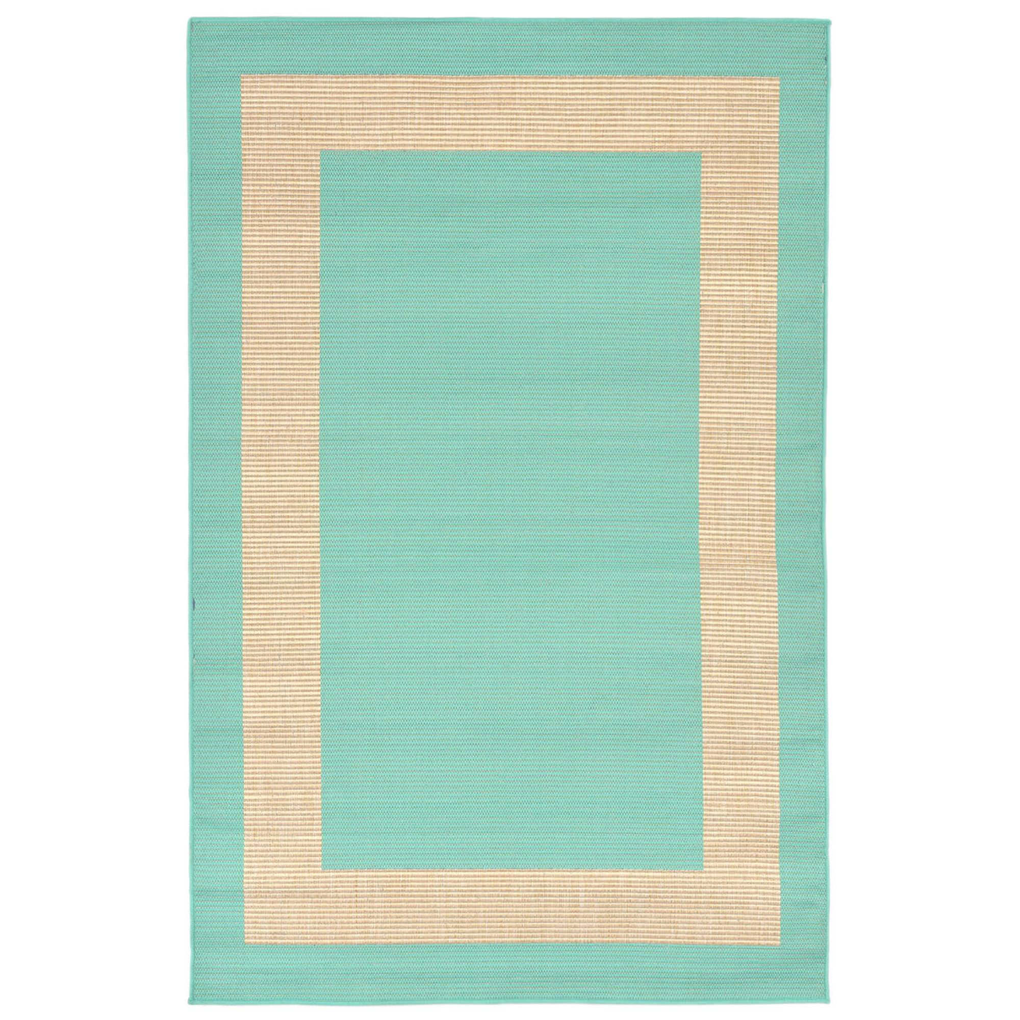 Terrace Border Turquoise Outdoor Rug