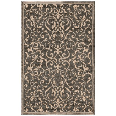 Terrace Scroll Vine Charcoal Outdoor Rug
