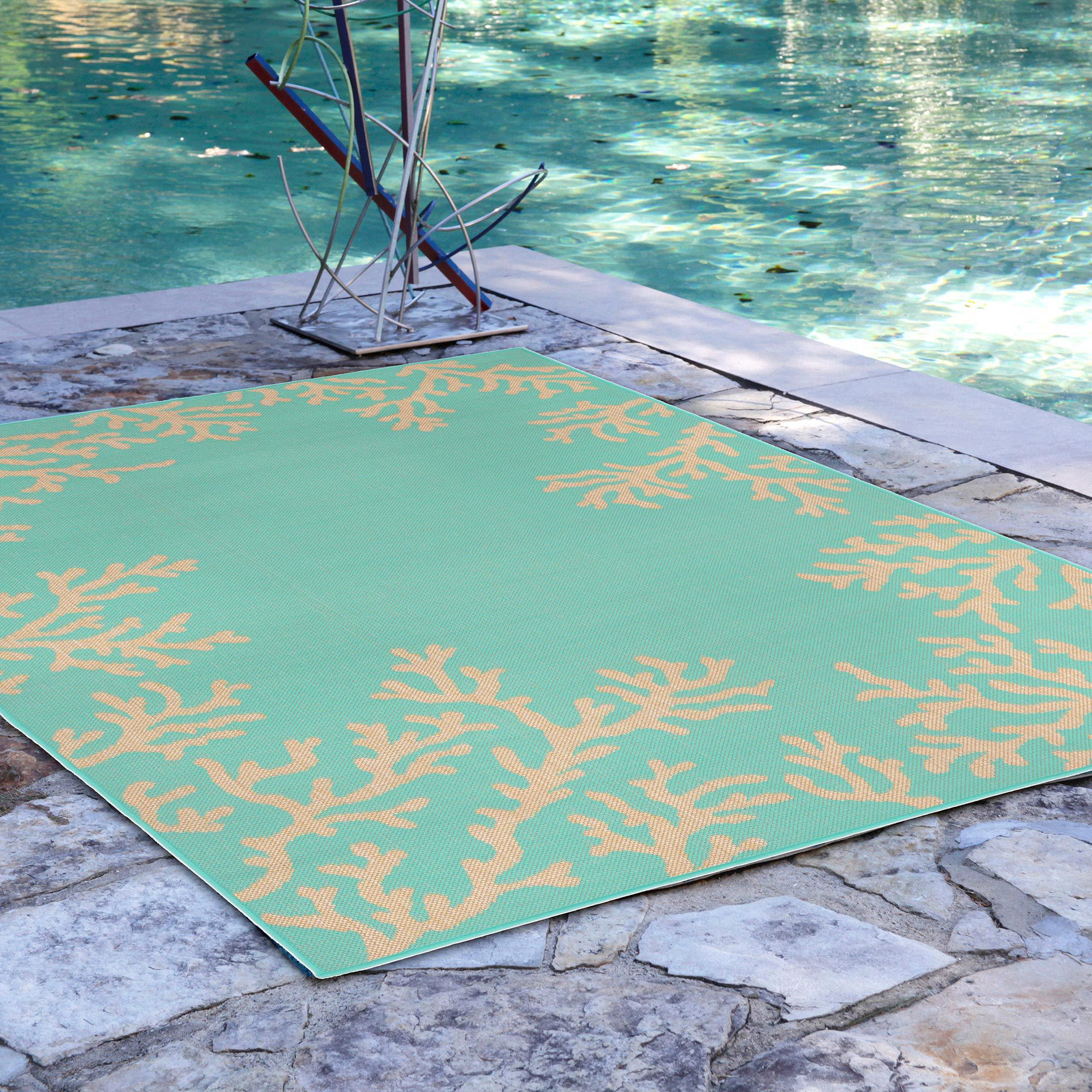 Coral And Turquoise Outdoor Rug: Terrace Coral Border Turquoise Outdoor Rug