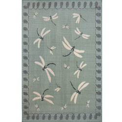 Terrace Dragonfly Aqua Outdoor Rug