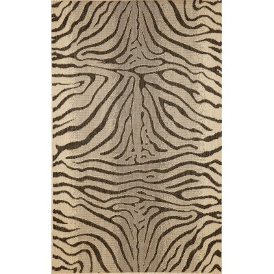 Terrace Zebra Charcoal Outdoor Rug