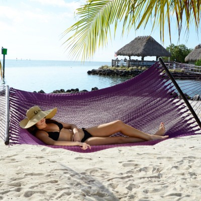Large Soft Spun Polyester Plum Purple Caribbean Hammock with FREE Hanging Hardware