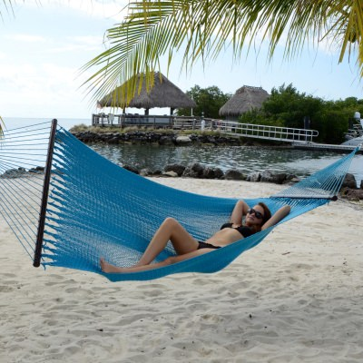 Large Soft Spun Polyester Aruba Blue Caribbean Hammock with FREE Hanging Hardware