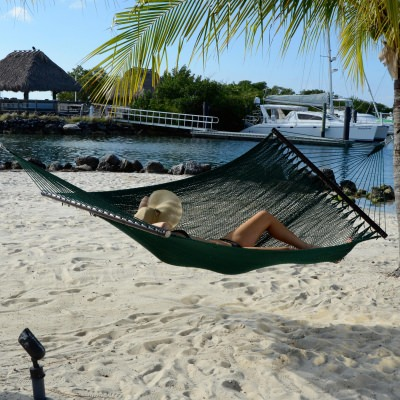 Large Soft Spun Polyester Forest Green Caribbean Hammock with FREE Hanging Hardware