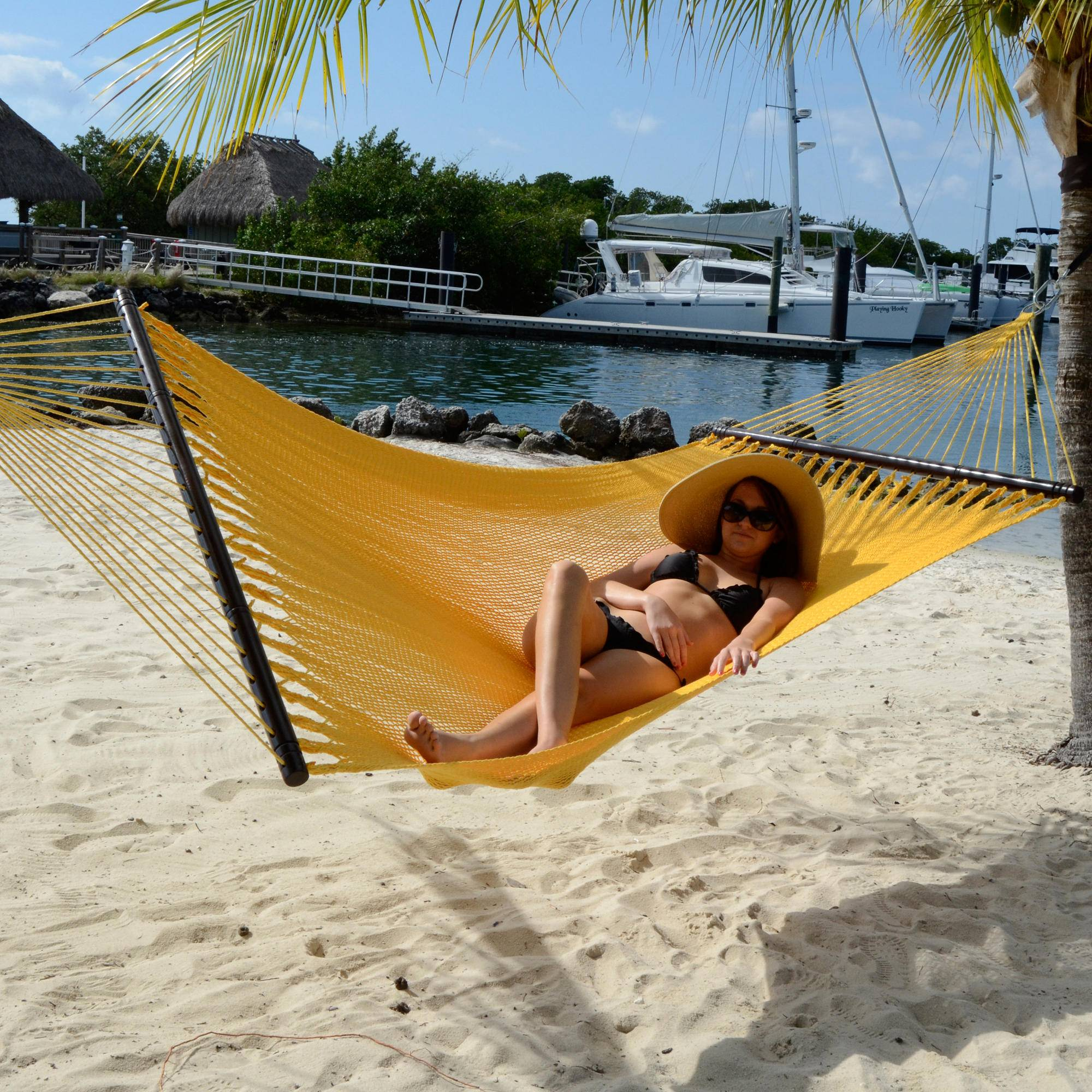 large soft spun polyester caribbean hammock save on our clearance hammocks   dfohome  rh   dfohome