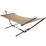 Large Soft Spun Polyester Sandy Tan Caribbean Hammock with FREE Hanging Hardware