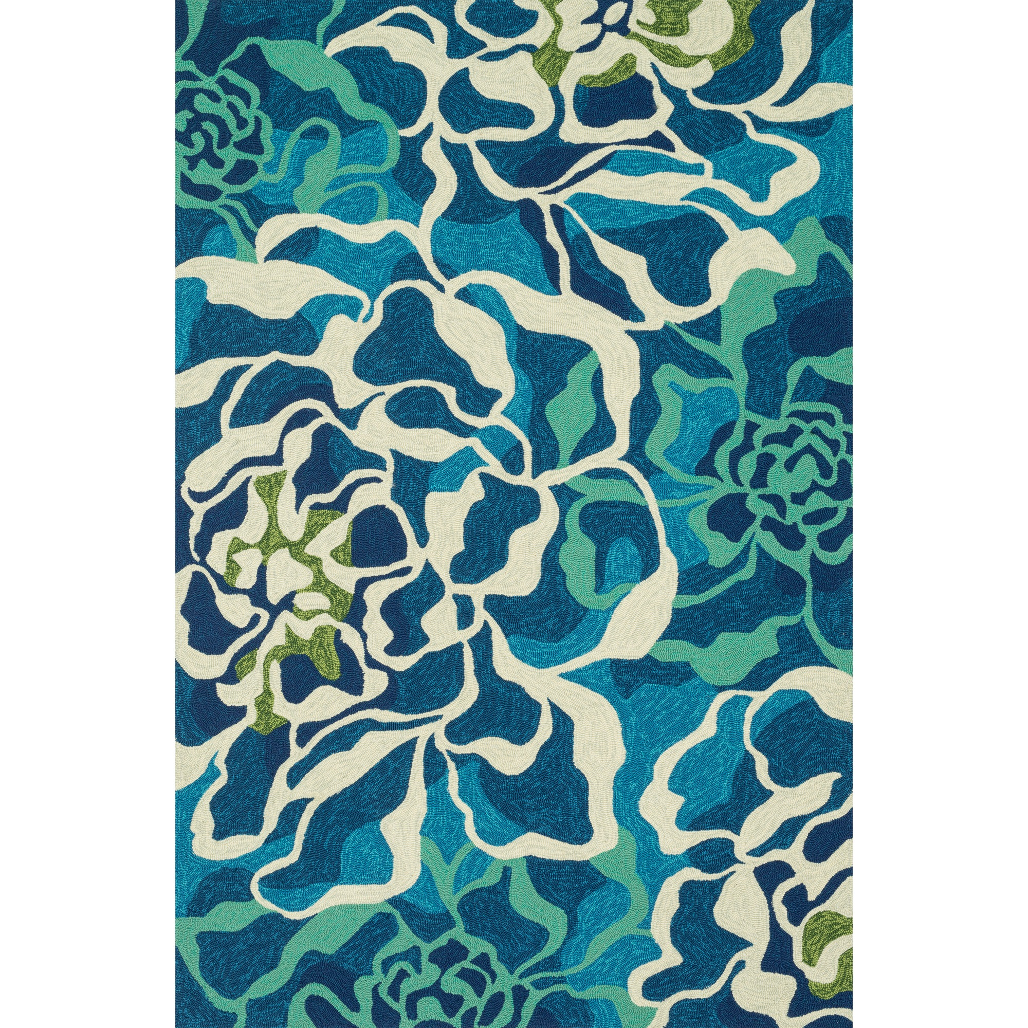 Shop Ventura Floral Wave Aqua Outdoor Rug (7ft 10in Round
