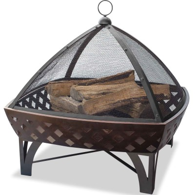 Square Oil Rubbed Bronze Wood Burning Firebowl with Lattice Design