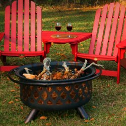 Round Oil Rubbed Bronze Wood Burning Firebowl with Lattice Design