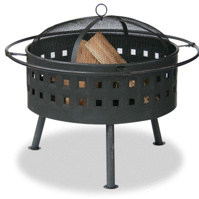 Round Aged Bronze Wood Burning Firebowl with Cut Out Design